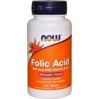 NOW Folic Acid 800mcg with Vitamin B12 Фолиевая кислота с витамином Б12 250 таблеток